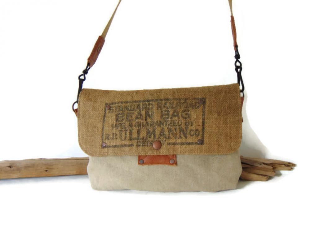 7171a76775 Sac bandoulière en toile militaire grise, toile de jute et cuir, sac à main  de style ...