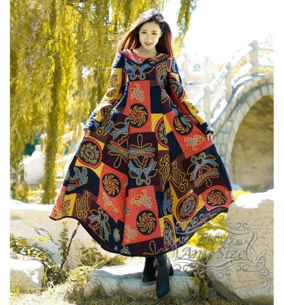 Rétro hiver robe en lin & coton