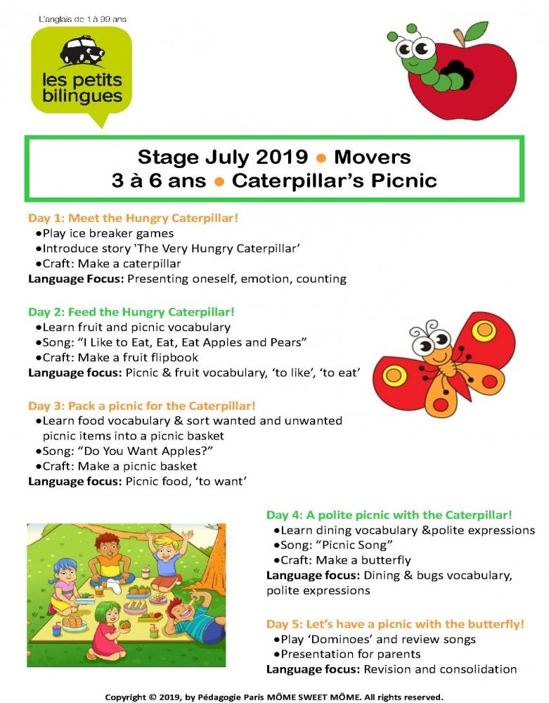 STAGE d'ANGLAIS 3-6 ans du 8 au 12 Juillet 2019
