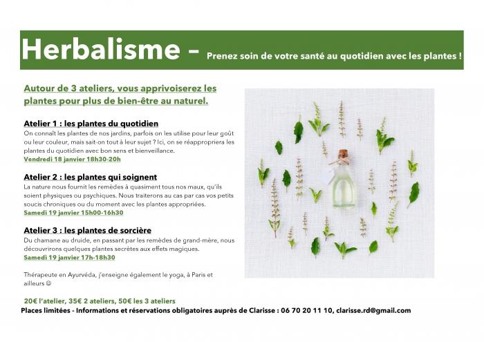 HERBALISME,  les plantes du quotidien - 19/01/19