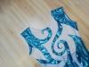 Justaucorps bleu et blanc