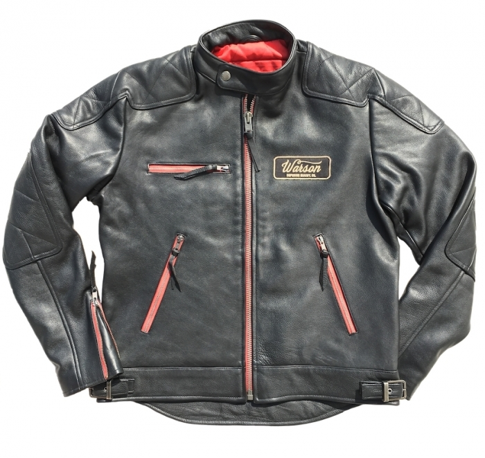 Blouson cuir Warson Motors Motorcycle Leather Black/zip Red
