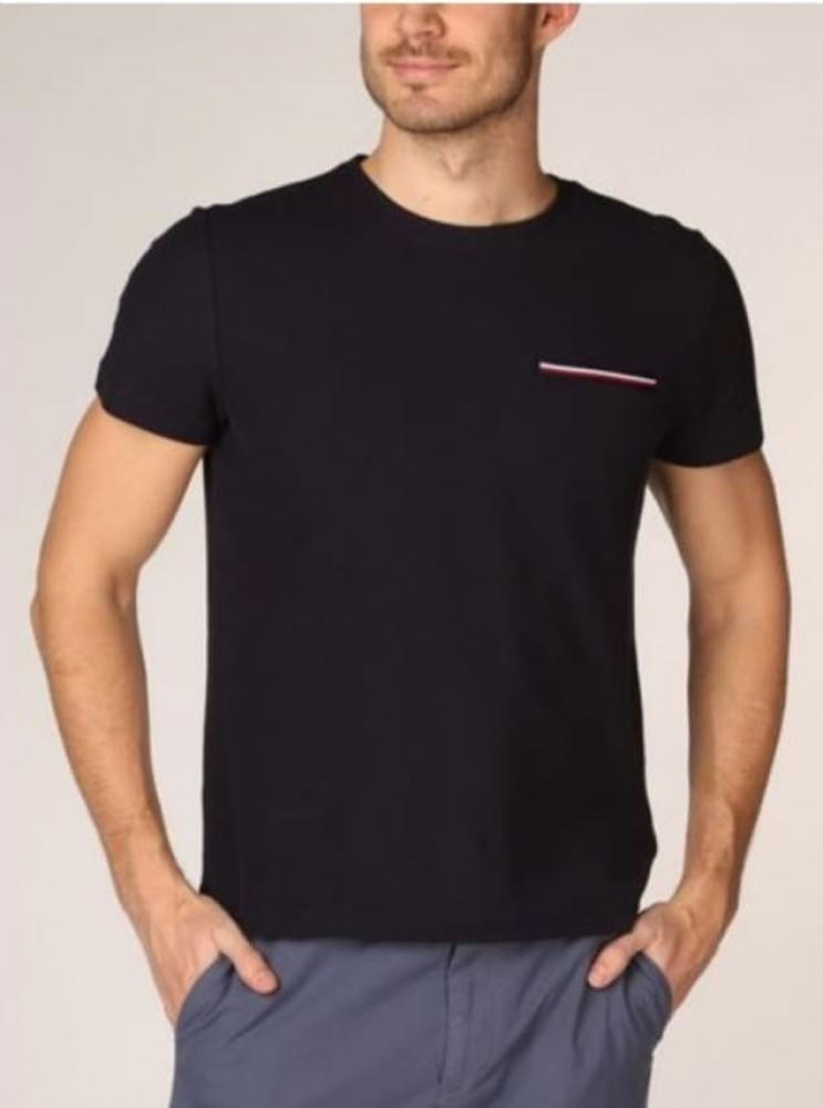 Tee shirt avec fausse poche, liseré bleu blanc rouge TOMMY HILFIGER