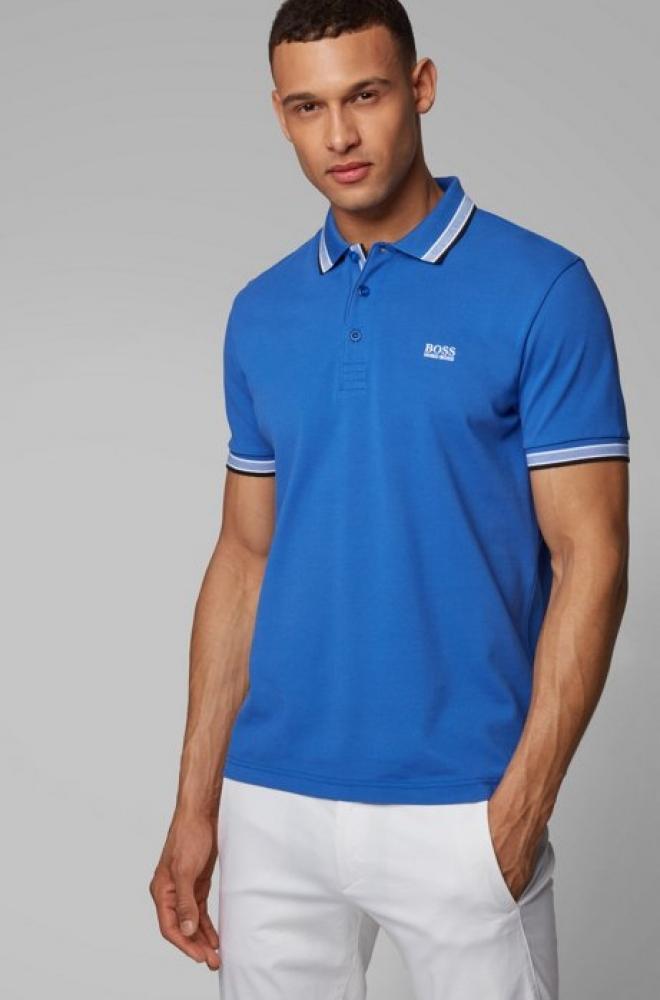 Polo en piqué de coton, avec logo au niveau du sous-col HUGO BOSS