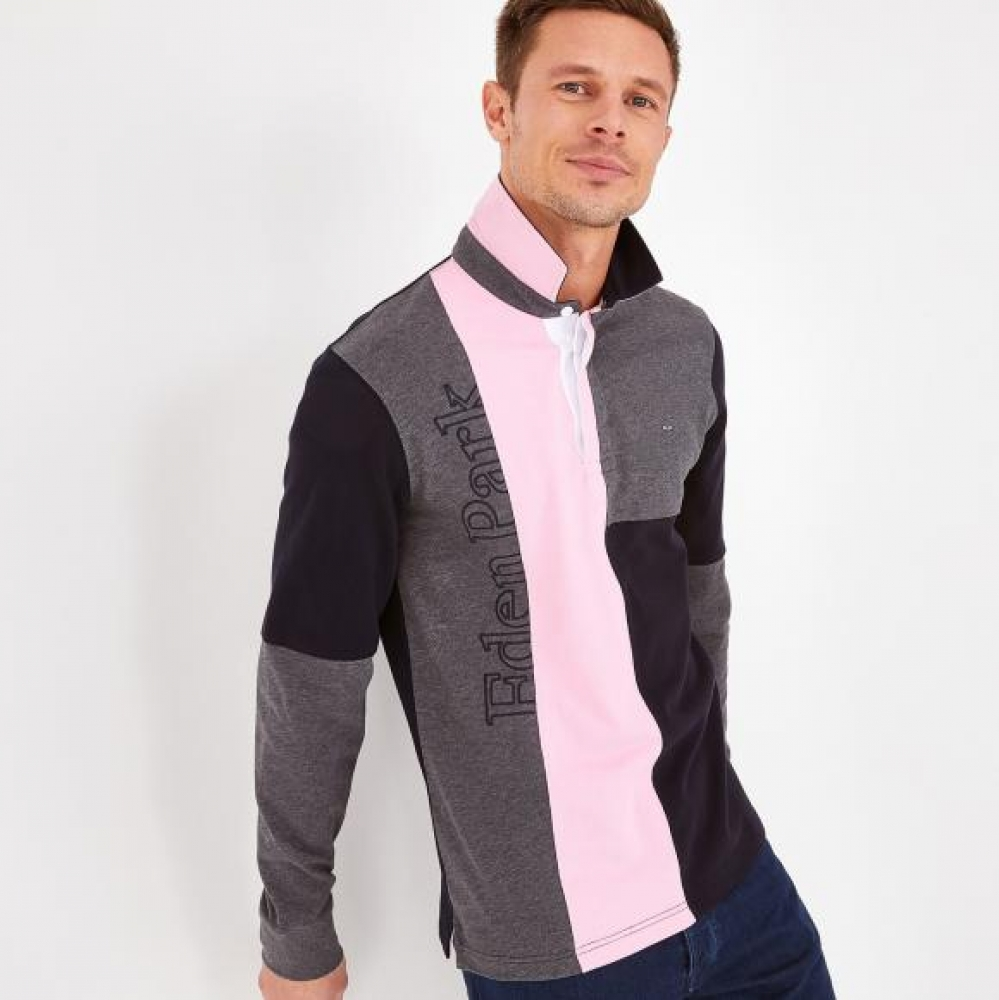 Polo EDEN PARK  maille maillot en coton color-block rose