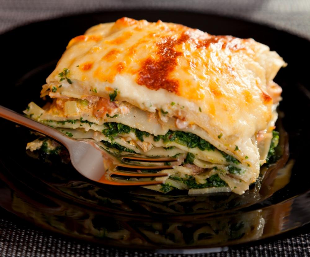 Lasagnes maison aux 2 saumons, ricotta et épinards du Vivier pour 2 personnes