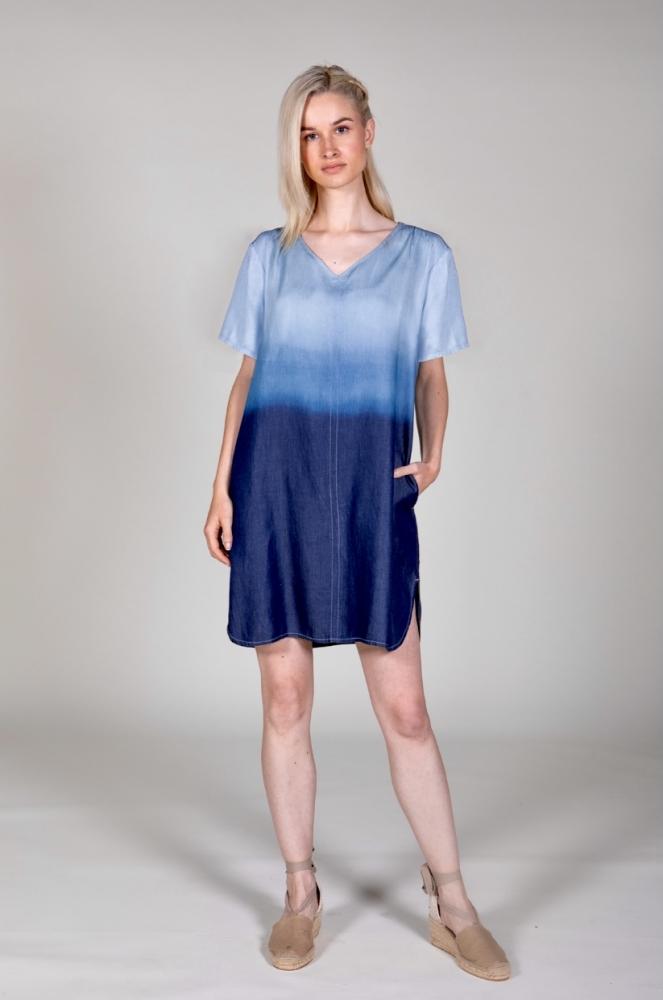 EGATEX Robe  réf 211512 lyocell tie-dye à manches courtes
