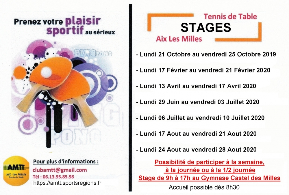 Stage de Tennis de Table