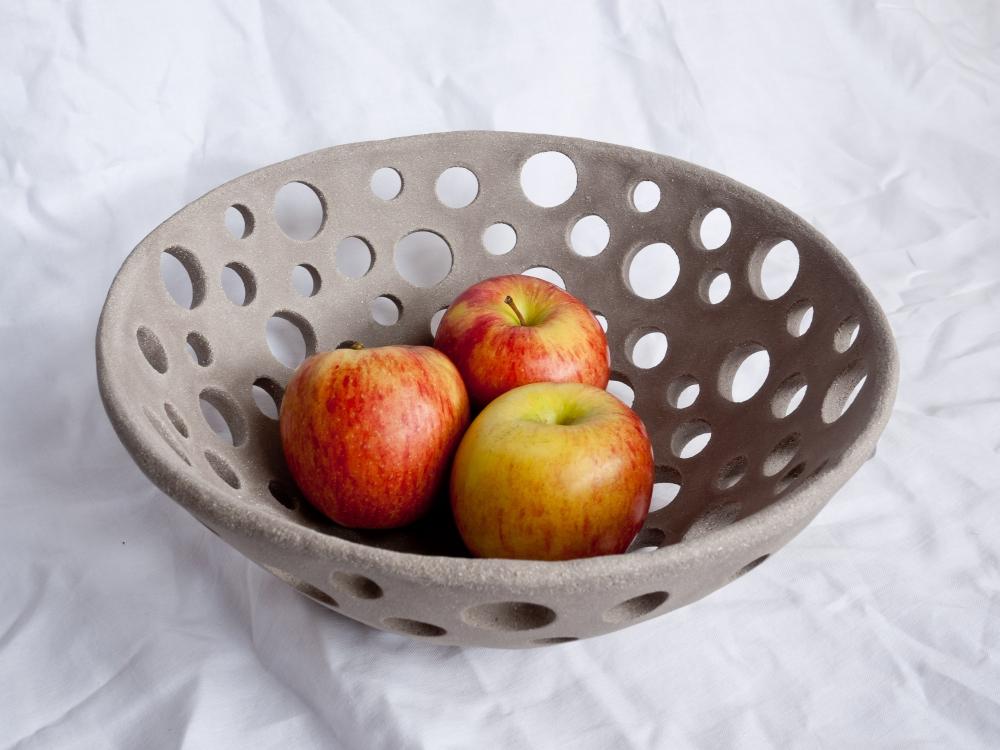 Grand bol a fruit gris 30 cm céramique