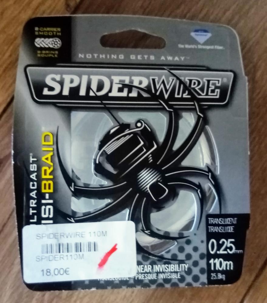 Lot de 5 Bobines 110m de tresse SpiderWire 0.25