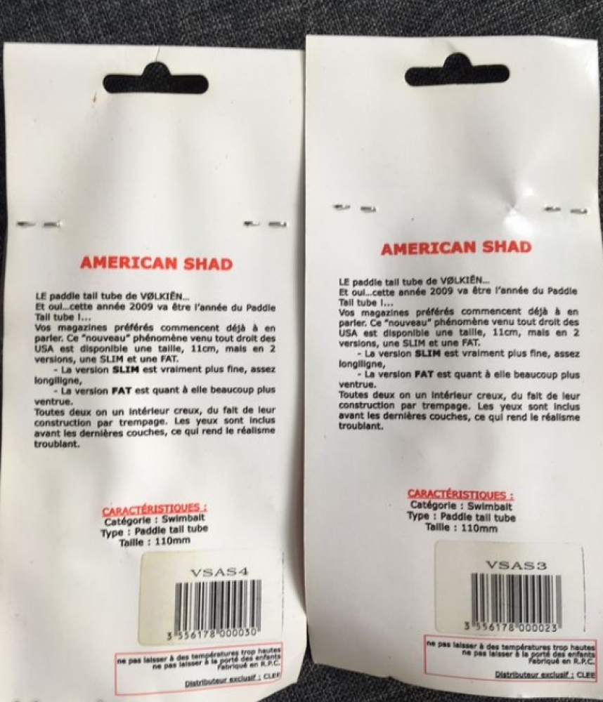 Leurres souples shad 11 cm (pack de 2)