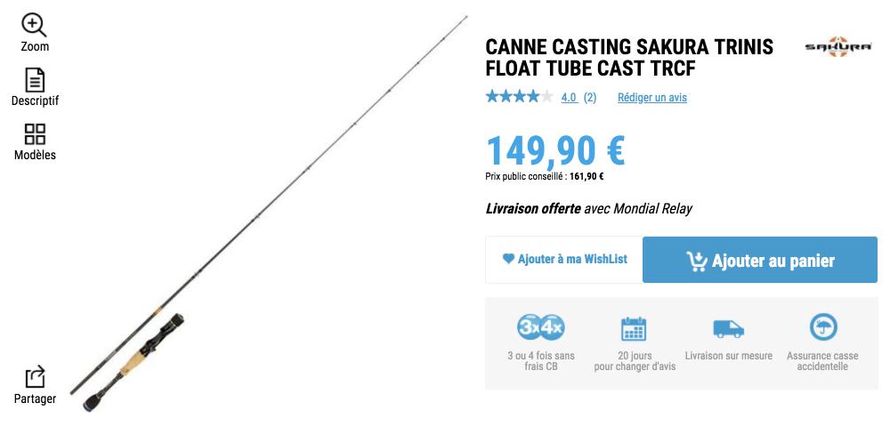 Canne casting Sakura Trinis - Spécial float tube