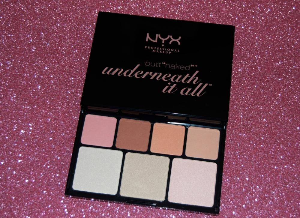 """Paleta de ojos y rostro Butt """"naked"""" underneath it all de Nyx."""