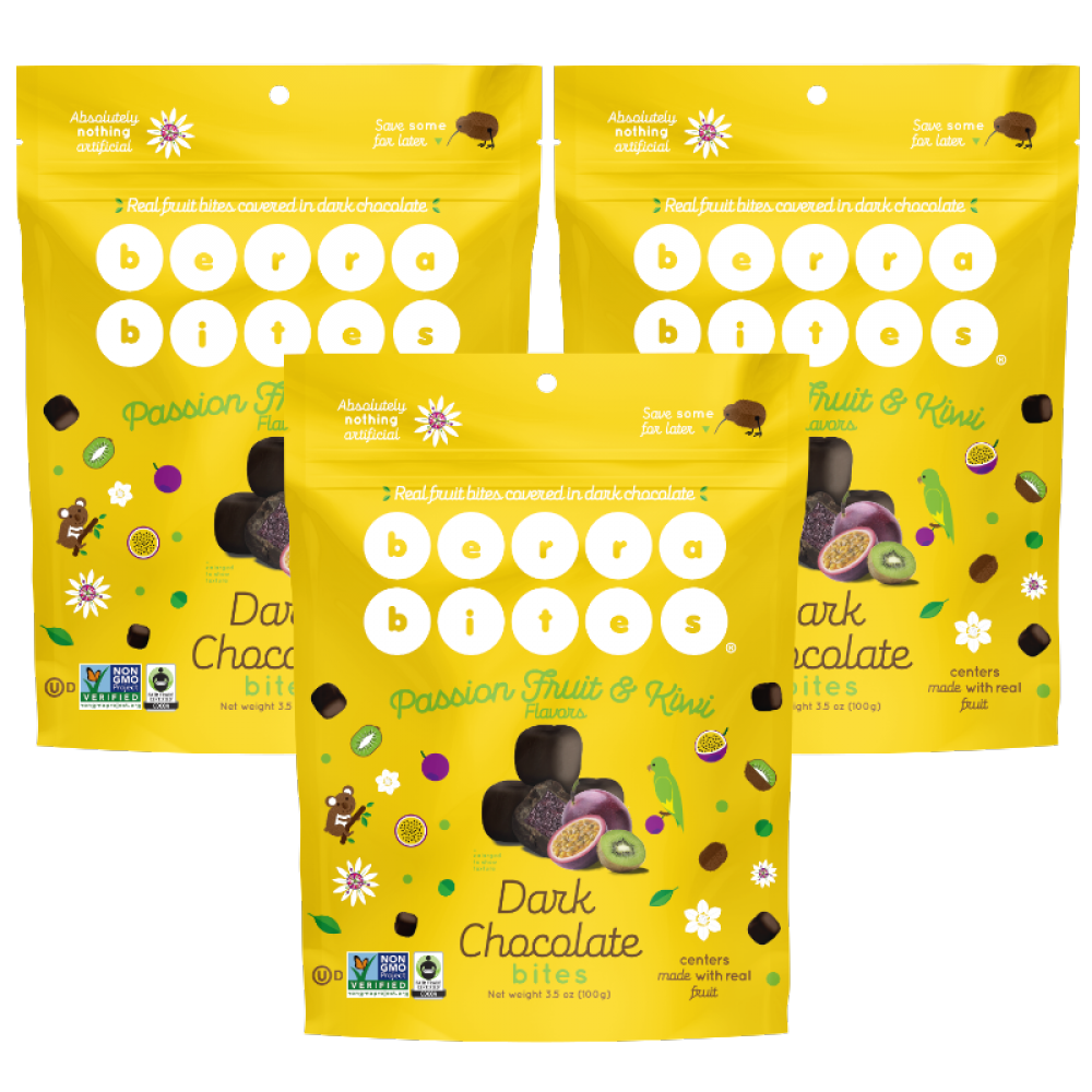Passion Fruit & Kiwi Dark Chocolate Bites (case of 12)