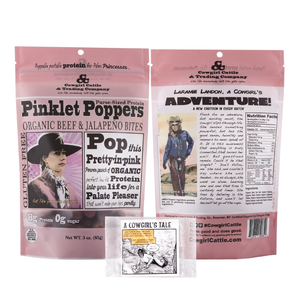 Pinklets Poppers Organic Beef & Jalapeño Bites (Case of 24)