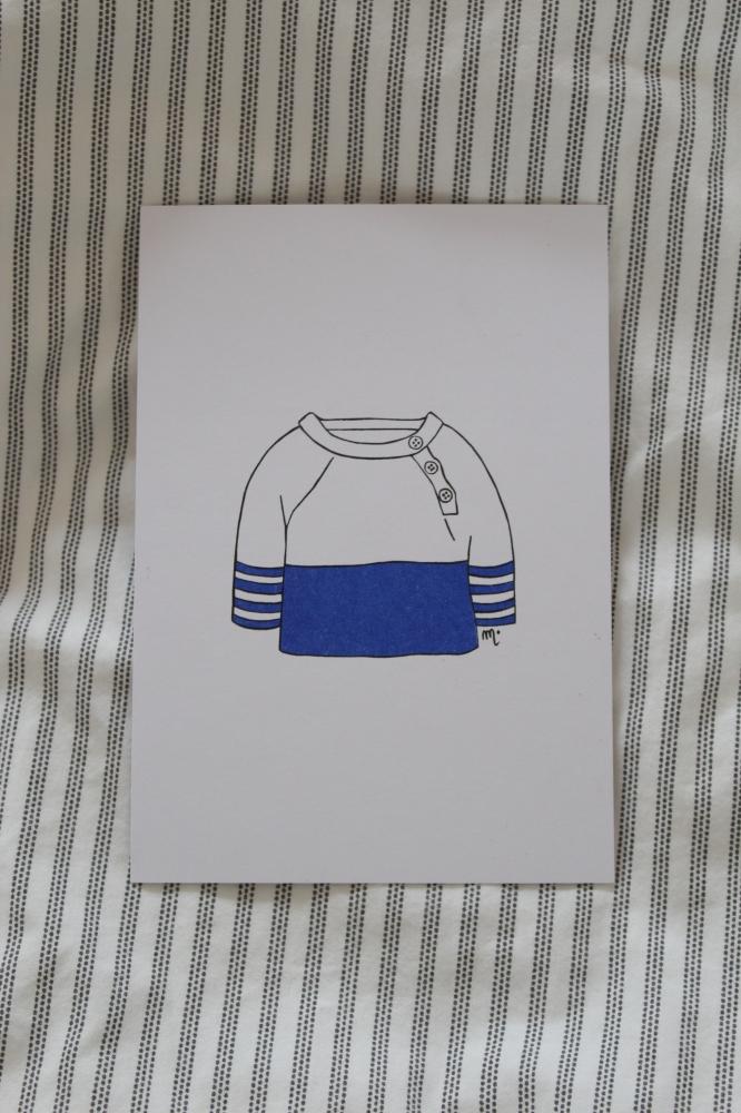 Pull marin - Illustration carte postale
