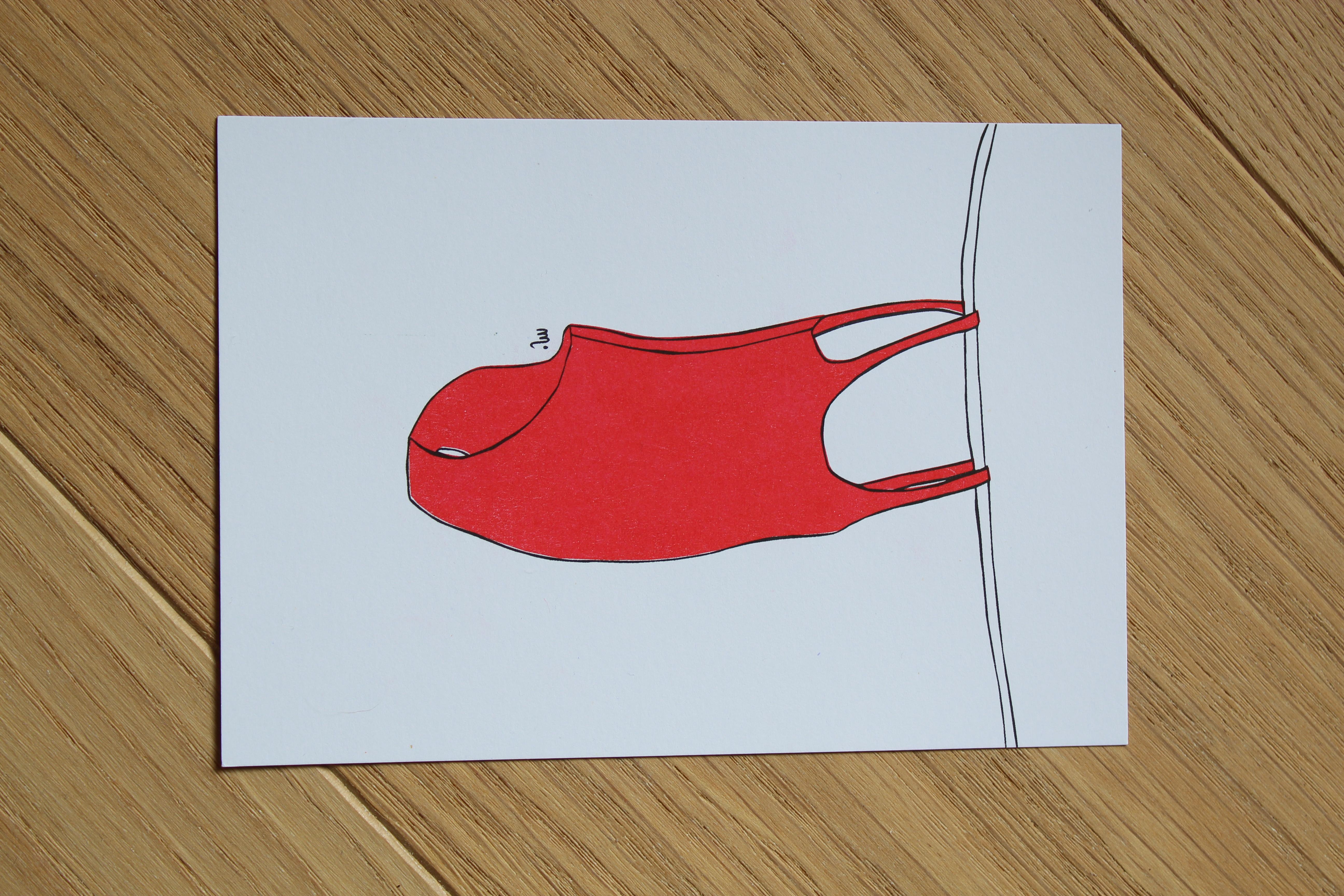 Maillot rouge - Illustration carte postale