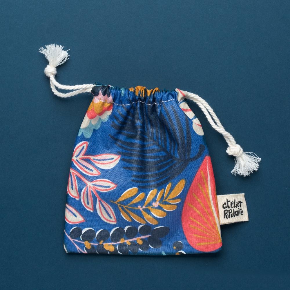 Pochette de transport en coton enduit - Savon et cosmétique solide - Bleu tropical
