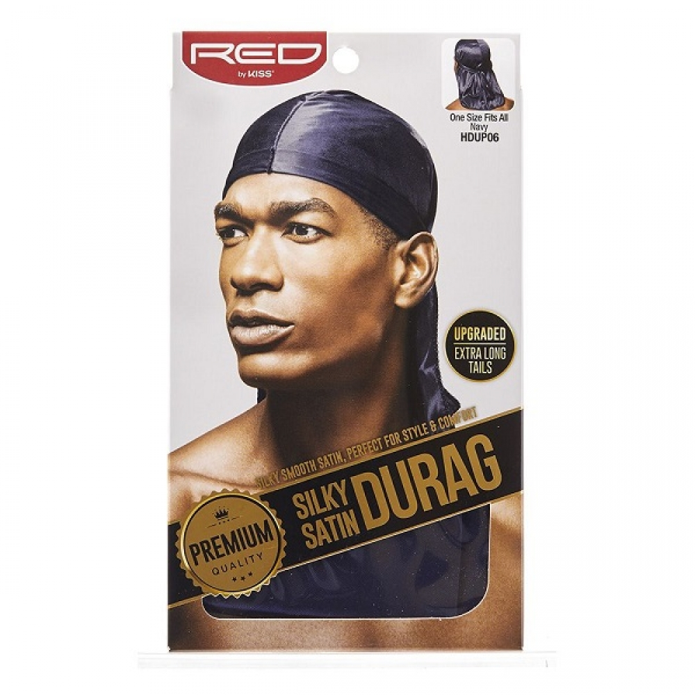 Durag Bleue Marine Silky Satin Durag Navy Red By Kiss HDUP06