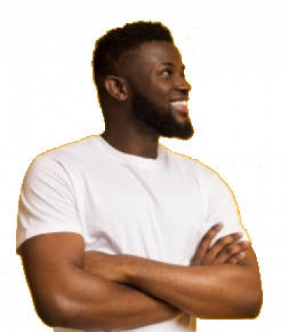 homme cheveux et barbe afro profil