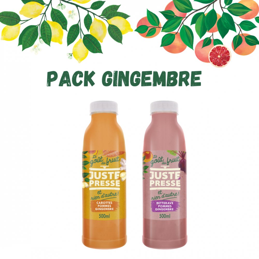 Pack Gingembre 500ml : 3 carotte gingembre + 3 bettrave gingembre