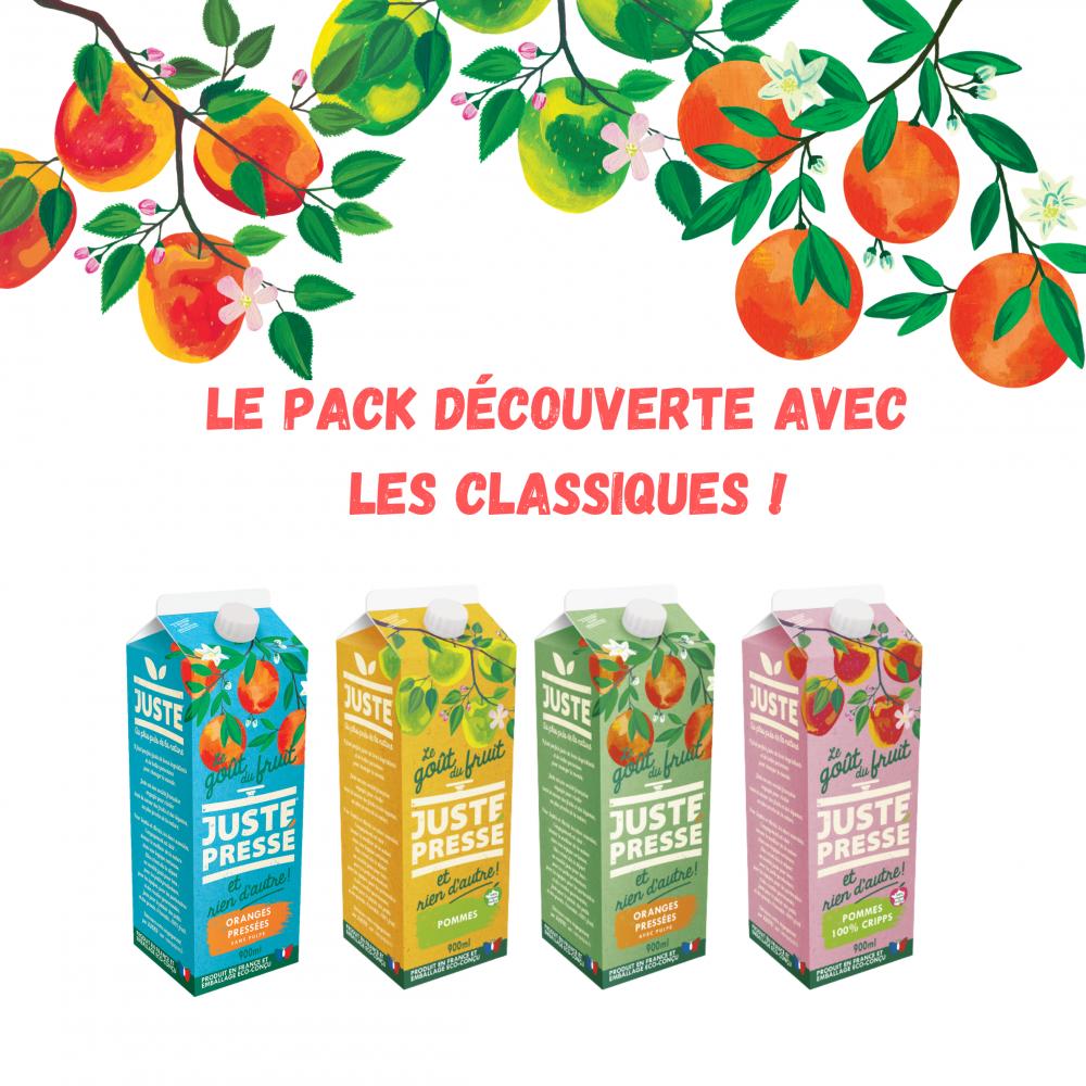 Pack découverte briques : 2 orange avec pulpe, 2 oranges sans pulpe, 1 pomme, 1 pomme CRIPPS pink ( 900ml)