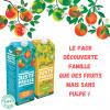 Pack découvert famille : 3 briques d'orange sans pulpe et 3 briques de pomme (900ml)