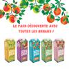 Pack toute les briques : 1 orange sans pulpe, 1 orange avec pulpe, 1 pomme, 1 pomme Cripps, 2 orange mangue passion