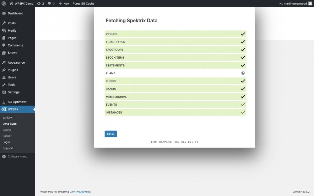 WPSPX - WordPress plug-in for Spektrix by Martin Greenwood