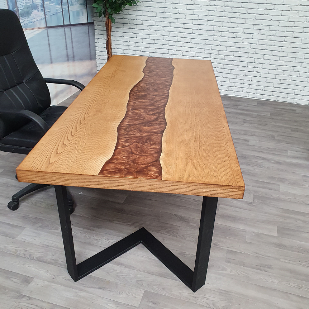 table ou bureau riviere en bois et resine cuivre