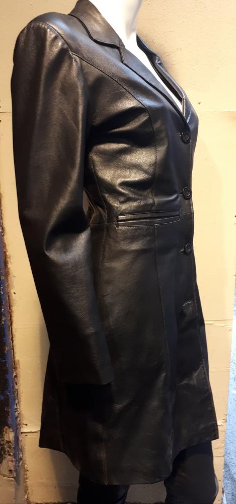 Veste cuir longue pour femme