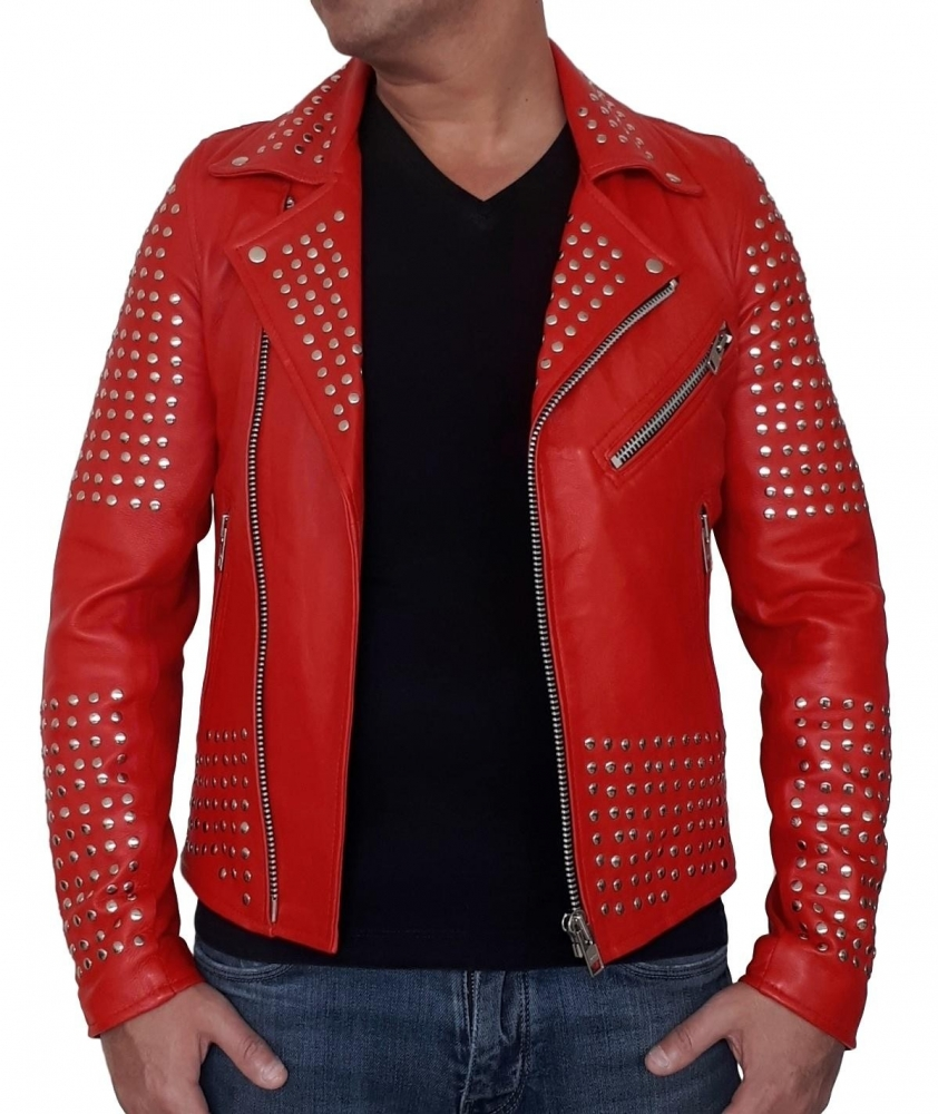 veste perfecto cuir rouge clouté djorno