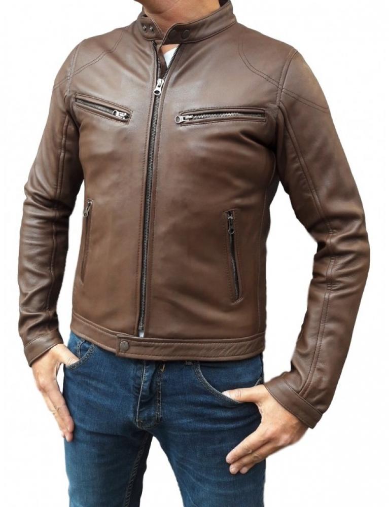 Veste cuir marron homme