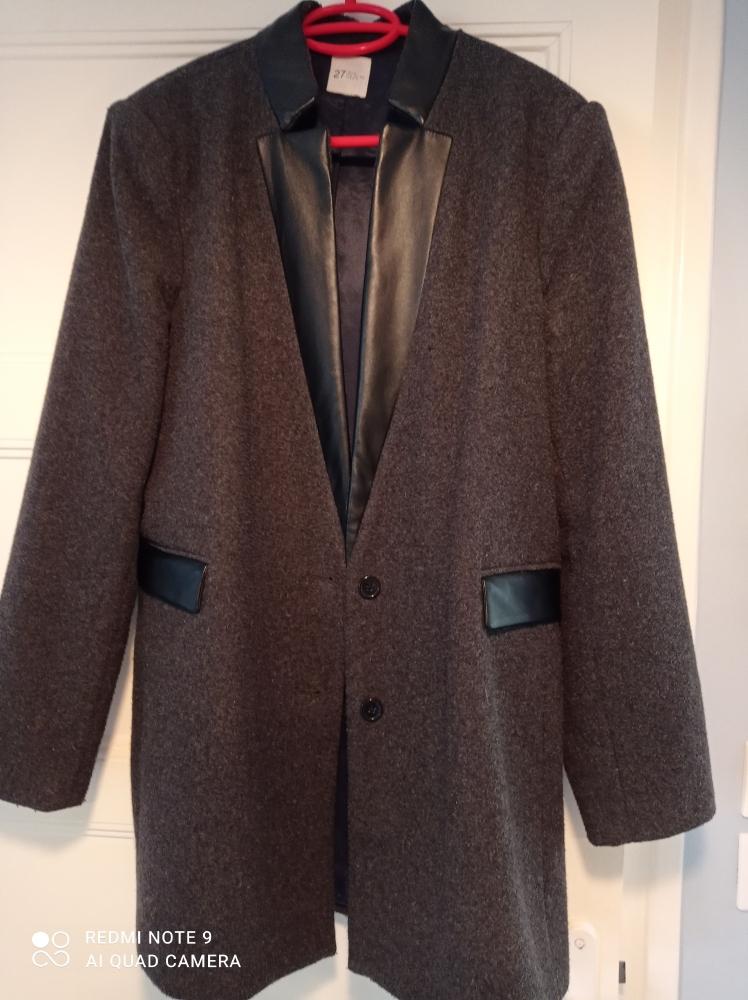 Veste droite laine gris foncé doublée