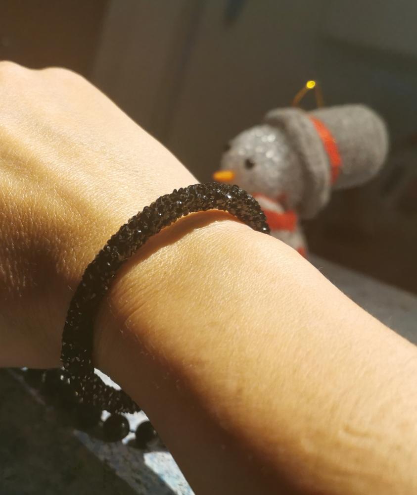 Bracelet noir étincelant style svarosky