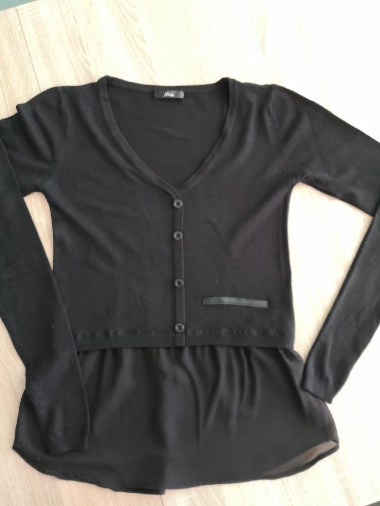 Cardigan bi matière noir