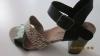 Sandales Talon Haut Noire & Beige