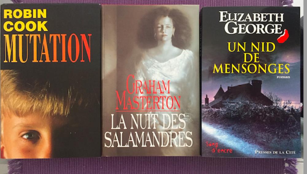 """Lot de 3 livres trillers: \""""Mutation\"""" de Robin COOK/ \""""La Nuit des Salamandres\"""" de Craham MASTERTON / \""""Un Nid de Mensonges\"""" d'Élisabeth GEORGE"""