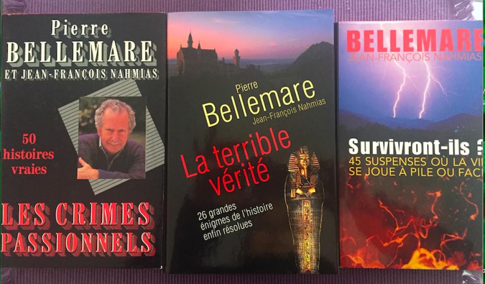 """Lot de 3 livres de Pierre BELLEMARE et Jean-François NAHMIAS \""""Les Crimes Passionnels – 50 histoires vraies\"""" \""""La Terrible Vérité – 26 grandes énigmes de l'histoire enfin résolues\"""" \""""Survivront-ils ? – 45 suspenses où la vie se joue à pile ou face\"""""""