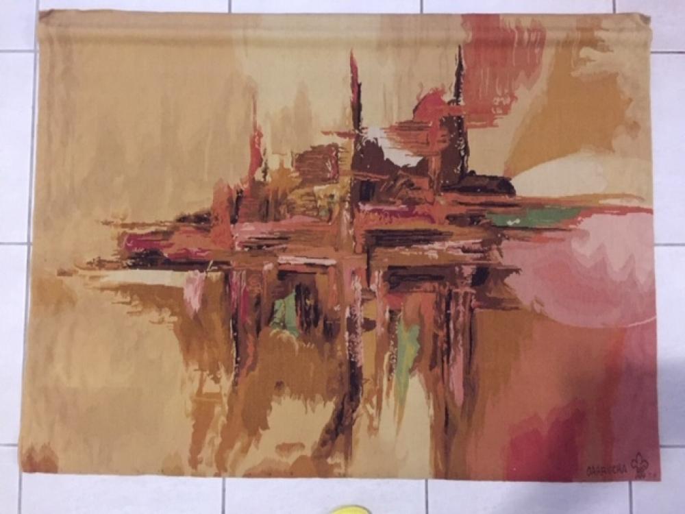 """Tapisserie murale  \""""La Ville dorée\"""" de Garrucha- style Aubusson =130cm x 100cm , neuve"""