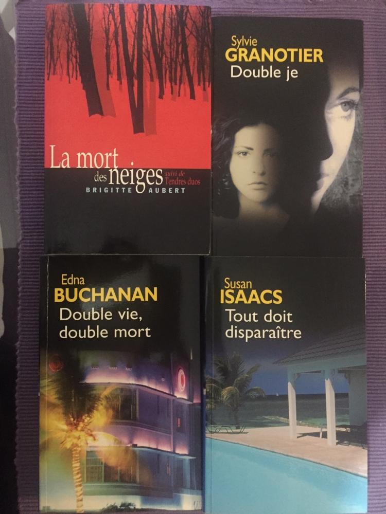 """Lot de 4 livres polars:\""""La mort des Neiges\"""" & \""""Tendres Duos\"""" de Brigitte AUBERT/\""""Double Je\"""" de Sylvie GRANOTIER/\""""Double Vie, Double Mort\"""" d'Edna BUCHANAN/\""""Tout doit Disparaître\"""" de Susan ISAACS"""