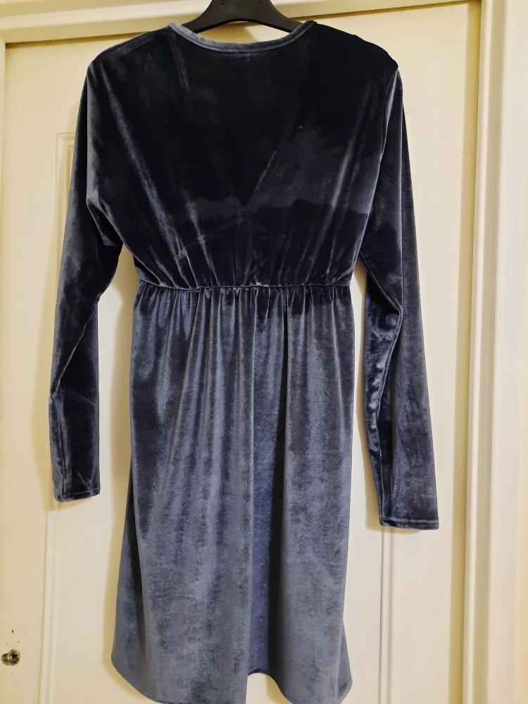 Robe babydoll ample en velours gris ardoise