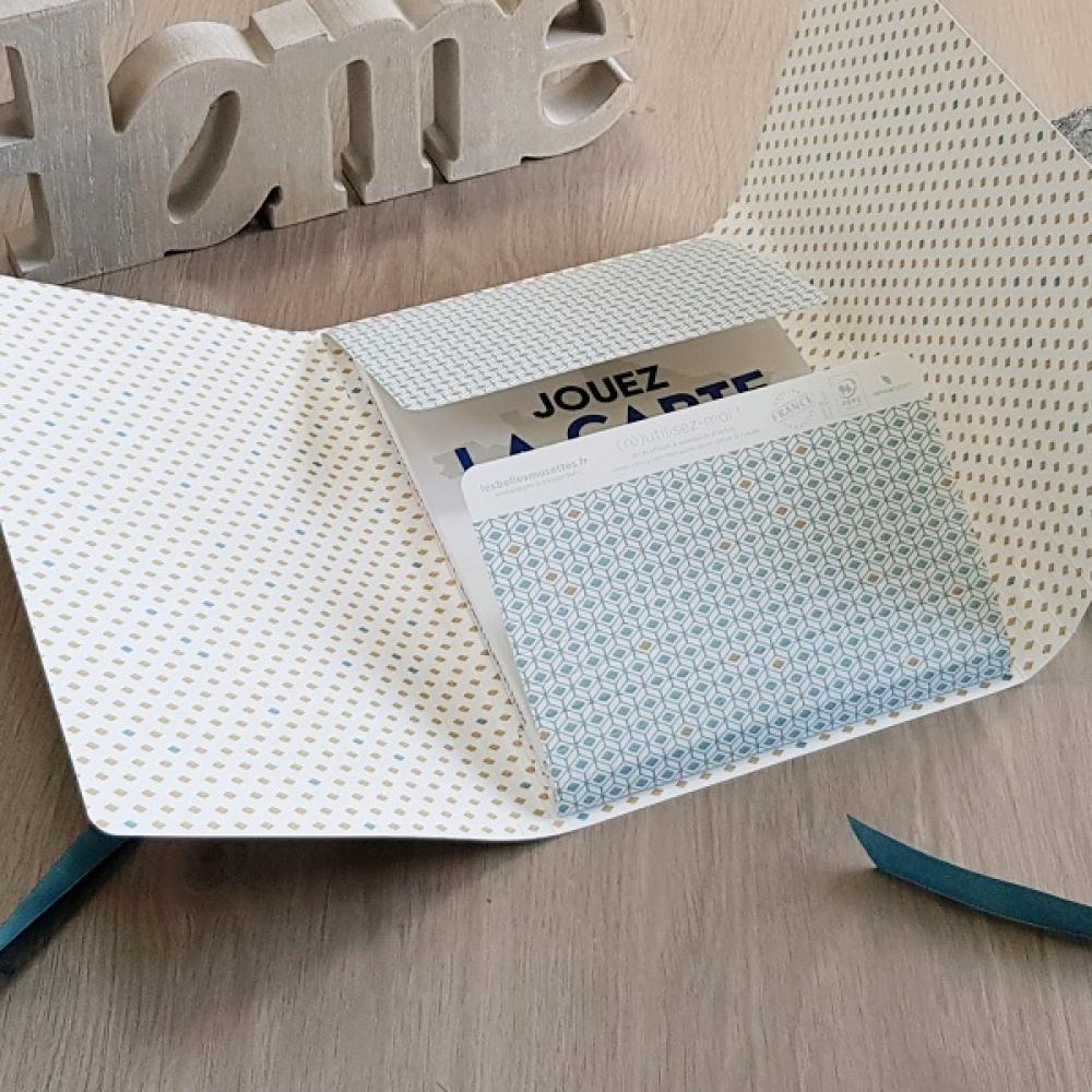 Boîte cadeau modulable et réutilisable LEA - Bleu Losange