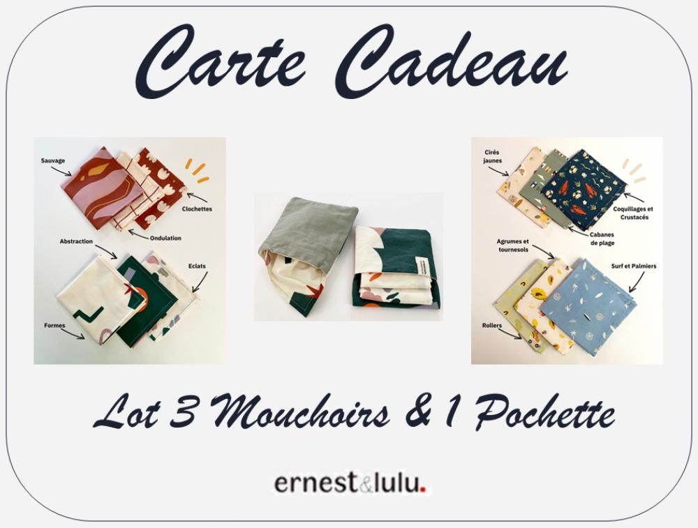 Carte Cadeau - 3 Mouchoirs en tissu et leur Pochette