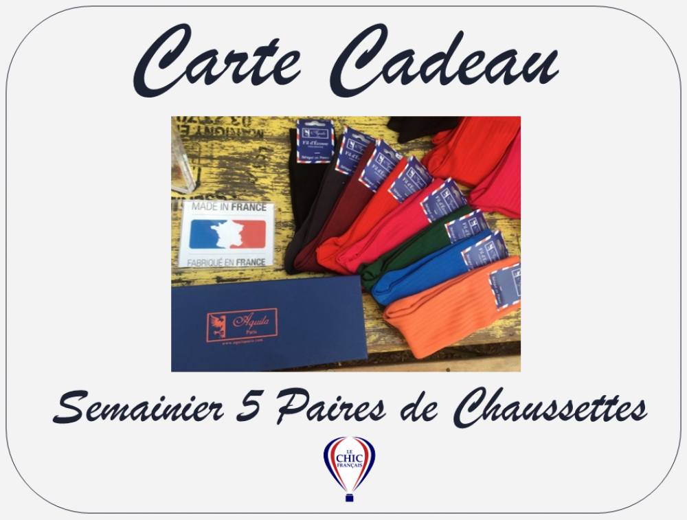 Carte Cadeau - Semainier 5 Paires de Chaussettes