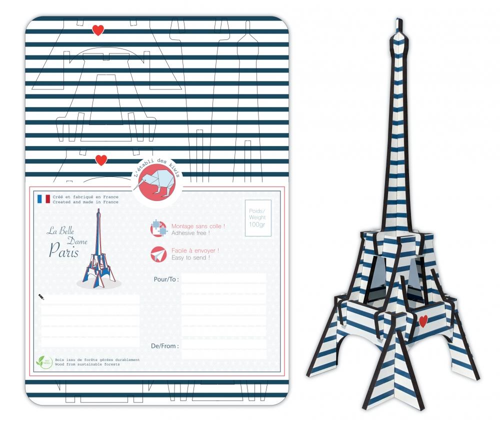 Tour Eiffel bois 3D à monter : colori Marinière