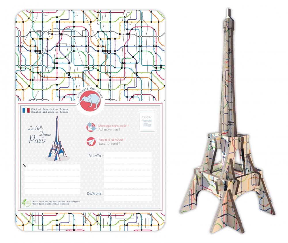 Tour Eiffel bois 3D à monter : colori Metropolitain