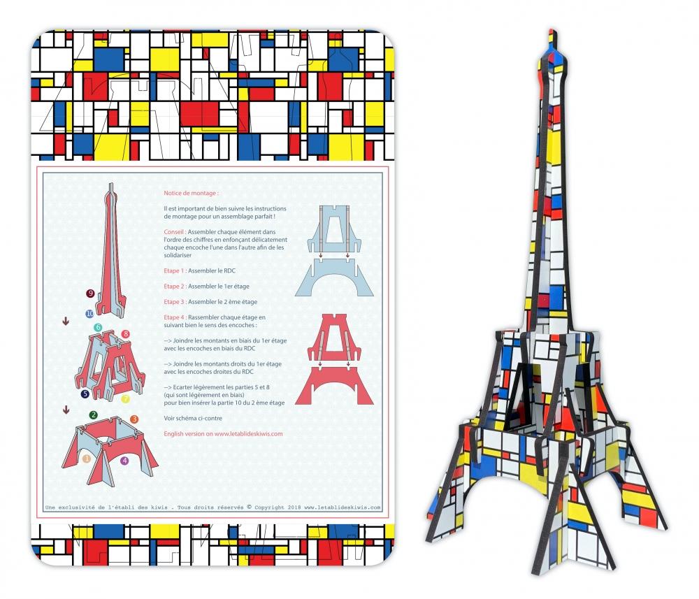 Tour Eiffel bois 3D à monter : colori Mondrian