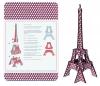 Tour Eiffel bois 3D à monter : colori cubique bleu blanc rouge
