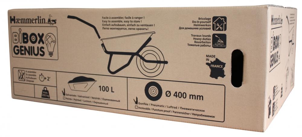 Brouette BIBOX genius peinte roue gonflée